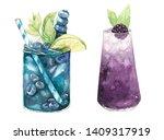 hand drawn watercolor... | Shutterstock . vector #1409317919