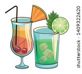 glasses with cocktail icon... | Shutterstock .eps vector #1409322620