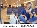 travel and technology. pretty... | Shutterstock . vector #1409330549