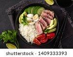 grilled tuna  avocado  tomato ... | Shutterstock . vector #1409333393
