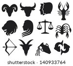 stylized icons of zodiac signs... | Shutterstock . vector #140933764