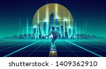 Skateboarding in virtual reality cartoon vector background. Man flying on levitating skateboard under glossy surface with glowing neon grid to futuristic metropolis skyscrapers on horizon illustration - stock vector