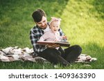 father and his little baby... | Shutterstock . vector #1409363390