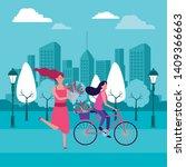 women riding bike with flower... | Shutterstock .eps vector #1409366663