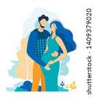 happy loving couple of husband... | Shutterstock .eps vector #1409379020