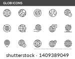globe vector line icons set.... | Shutterstock .eps vector #1409389049