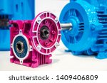 Small photo of Motor gearbox. Drive mechanism. Drive unit. Gear motor Details of the electric motor. Power point. Motor production