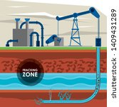 fracking zone  oil pump with... | Shutterstock .eps vector #1409431289