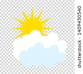 flat sun and cloud icon. summer ...