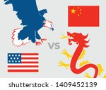 trade war concept. usa versus... | Shutterstock .eps vector #1409452139