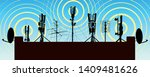 radio towers on the roof of the ... | Shutterstock .eps vector #1409481626