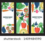 vegetables food hand drawn... | Shutterstock .eps vector #1409484590