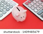 piggy bank between two... | Shutterstock . vector #1409485679