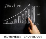 Small photo of effective business blackboard, teacher teach effective bar chart on chalkboard