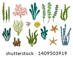 laser cut template of seaweeds. ... | Shutterstock .eps vector #1409503919