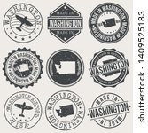 washington state set of stamps. ... | Shutterstock .eps vector #1409525183