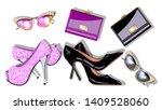set womens fashion accessories...   Shutterstock .eps vector #1409528060