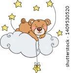 cute teddy bear on cloud...   Shutterstock .eps vector #1409530520