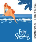 cool summer pool party poster... | Shutterstock .eps vector #1409543453