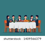 business team dining together.... | Shutterstock .eps vector #1409566379