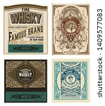 set of 4 western labels for... | Shutterstock .eps vector #1409577083