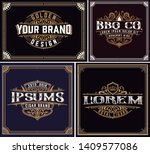 set of 4 vintage logos with... | Shutterstock .eps vector #1409577086