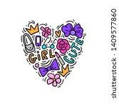 kids girl element for print ... | Shutterstock .eps vector #1409577860