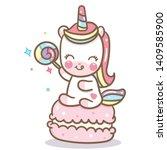 Stock vector cute unicorn vector with macaroon nursery decoration dessert food baby animal kawaii cartoon 1409585900