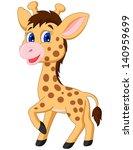 Stock vector cute baby giraffe cartoon 140959699