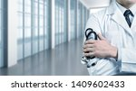 man doctor with a black... | Shutterstock . vector #1409602433