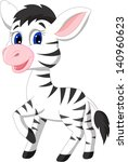 cute zebra cartoon | Shutterstock .eps vector #140960623