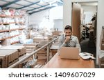 manager working on a laptop... | Shutterstock . vector #1409607029