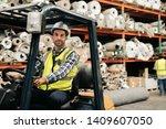 portrait of a forklift driver... | Shutterstock . vector #1409607050