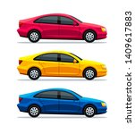 car set of sedan automobile... | Shutterstock . vector #1409617883