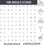 meals line icons  signs  vector ... | Shutterstock .eps vector #1409623949