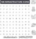 infrastructure line icons ... | Shutterstock .eps vector #1409625959