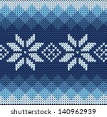 detailed knitted blue jacquard... | Shutterstock .eps vector #140962939