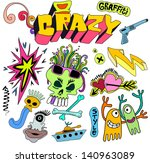 graffiti funky cartoon elements ... | Shutterstock .eps vector #140963089