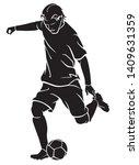 football kick and ball dribble... | Shutterstock .eps vector #1409631359