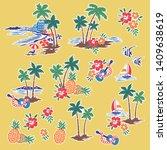 hawaiian tropical shore scenery ...   Shutterstock .eps vector #1409638619