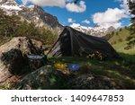 tourist parking under large... | Shutterstock . vector #1409647853