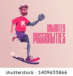 man with a prosthesis is... | Shutterstock .eps vector #1409655866