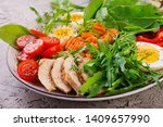 plate with a keto diet food.... | Shutterstock . vector #1409657990