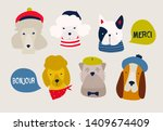 various dog breeds. french dogs.... | Shutterstock .eps vector #1409674409