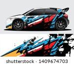 rally car decal graphic wrap... | Shutterstock .eps vector #1409674703