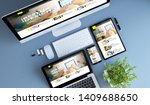blue devices top view ux design ...   Shutterstock . vector #1409688650