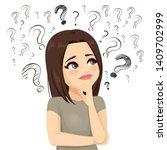 sad teenager girl confused... | Shutterstock .eps vector #1409702999