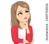 thinking teenager woman with... | Shutterstock .eps vector #1409703026
