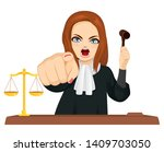 angry female judge in courtroom ... | Shutterstock .eps vector #1409703050