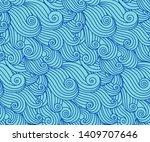 waves pattern. vector seamless... | Shutterstock .eps vector #1409707646